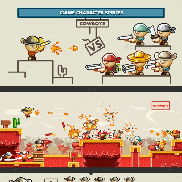 """Game Character Sprites """"Cowboys"""""""