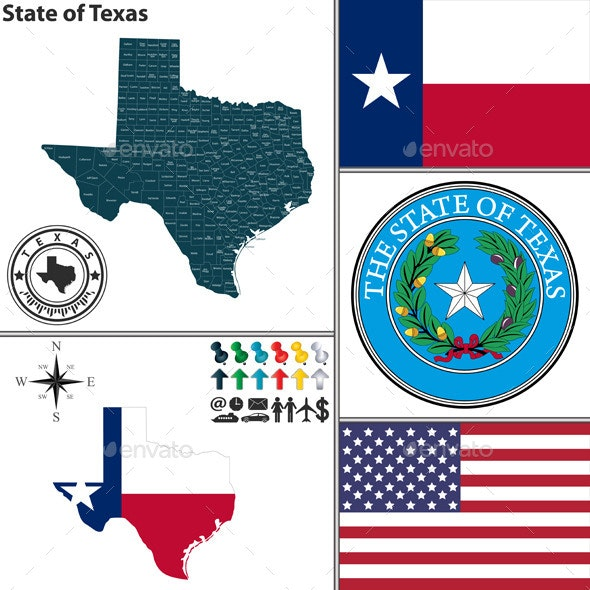 Map of State Texas, USA - Travel Conceptual