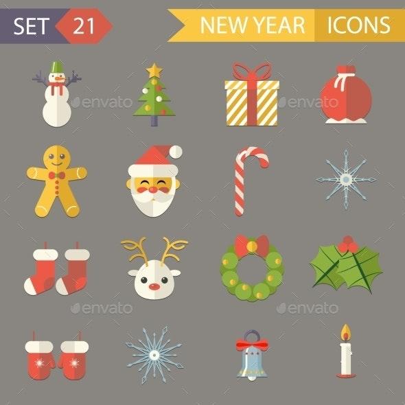 Flat Design New Year Symbols Christmas Accessories - Christmas Seasons/Holidays