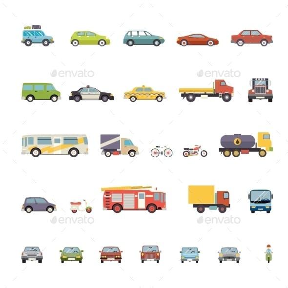 Modern Flat Design Transport Symbols Stylish Retro