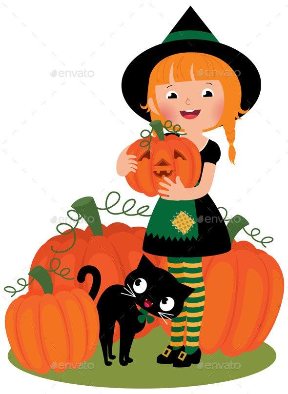 Halloween Witch with Pumpkins - Halloween Seasons/Holidays
