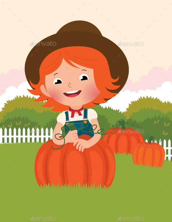 Little Farmer of Pumpkins - Halloween Seasons/Holidays