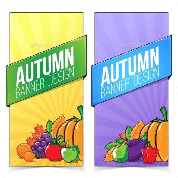 Autumn Banner Set with Fruits and Vegetables. - Backgrounds Decorative