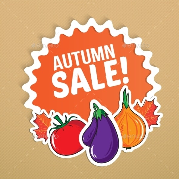 Autumn Sticker with Vegetables. - Backgrounds Decorative