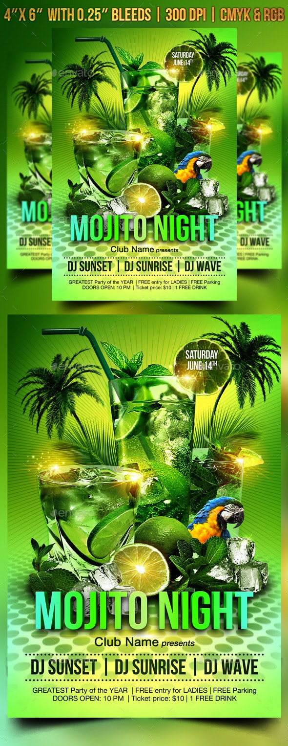 Mojito Night Flyer Template - Clubs & Parties Events