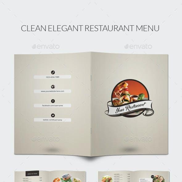 Clean Elegant Restaurant Menu