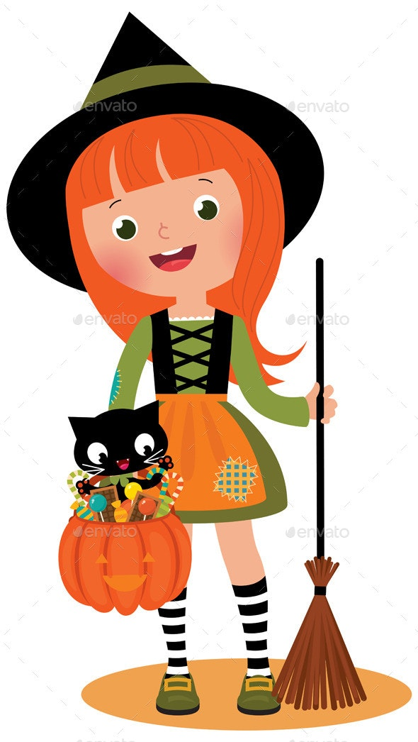 Witch and her Cat on Halloween - Halloween Seasons/Holidays