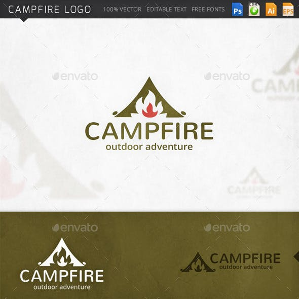 Campfire Traveling Survival Logo Template