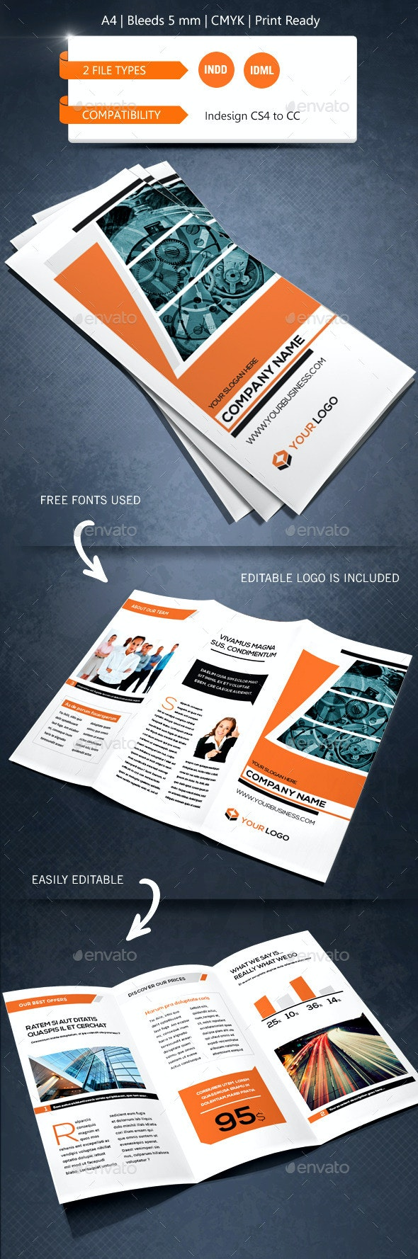 Creative & Corporate Trifold Brochure Template - Informational Brochures