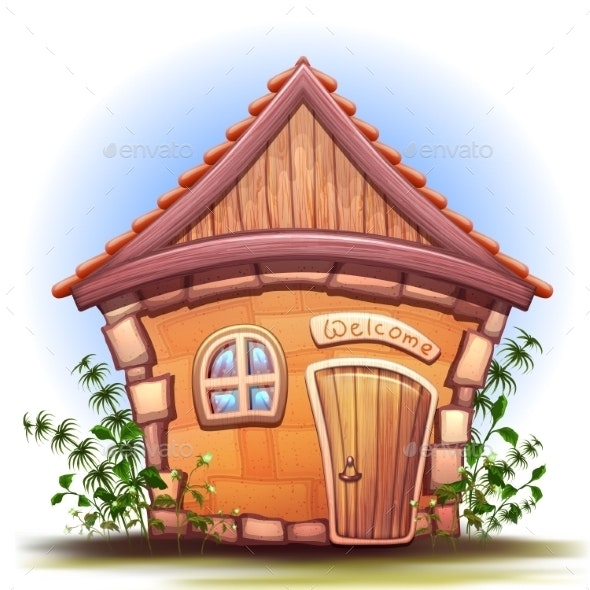 Vector Illustration of Cartoon Home - Buildings Objects