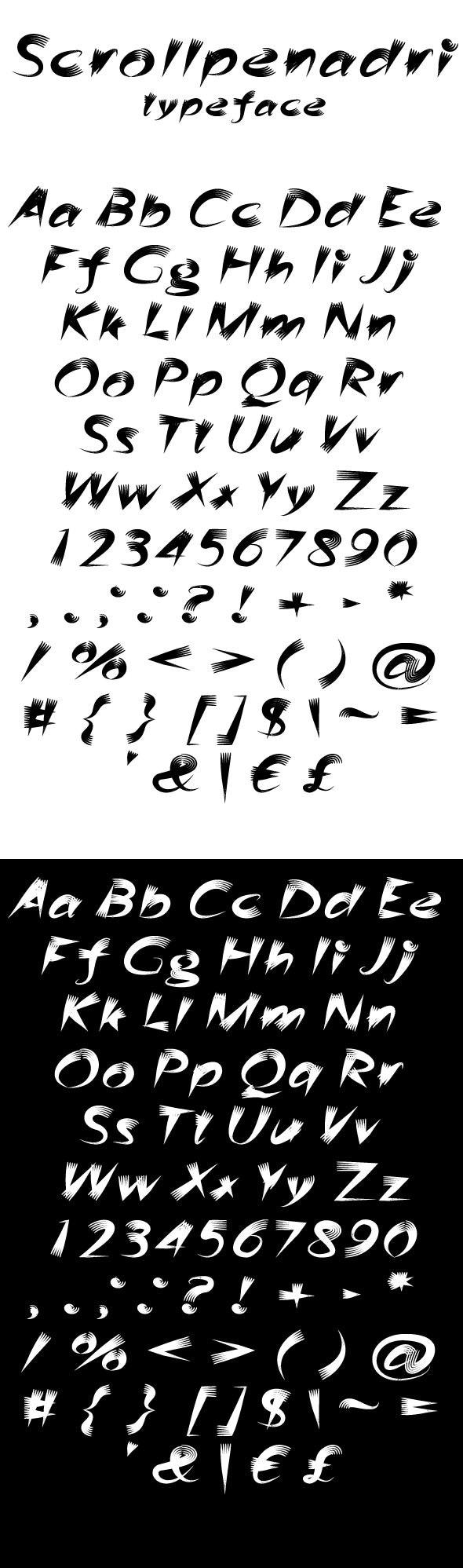 Scrollpenadri - Script Fonts