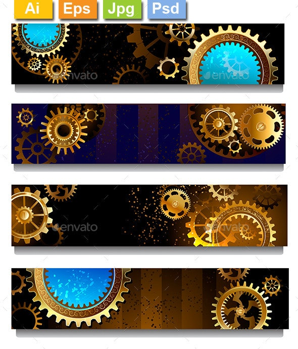 Four Banners with Gears - Web Elements Vectors
