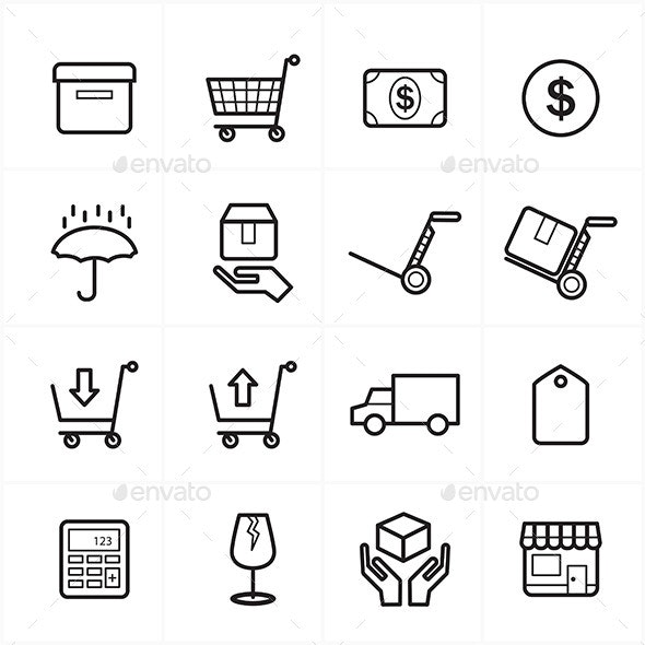 Flat Line Icons For Business Icons and Finance Icons - Business Icons