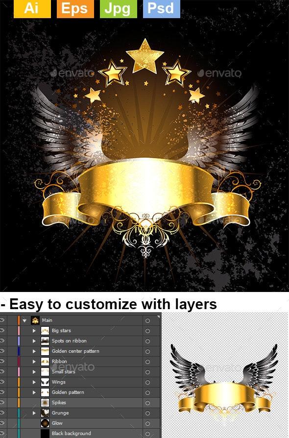 Gold Ribbon with Wings - Decorative Symbols Decorative
