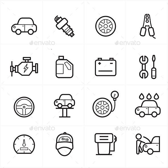 Flat Line Icons For Car Service Icons Vector Illustration