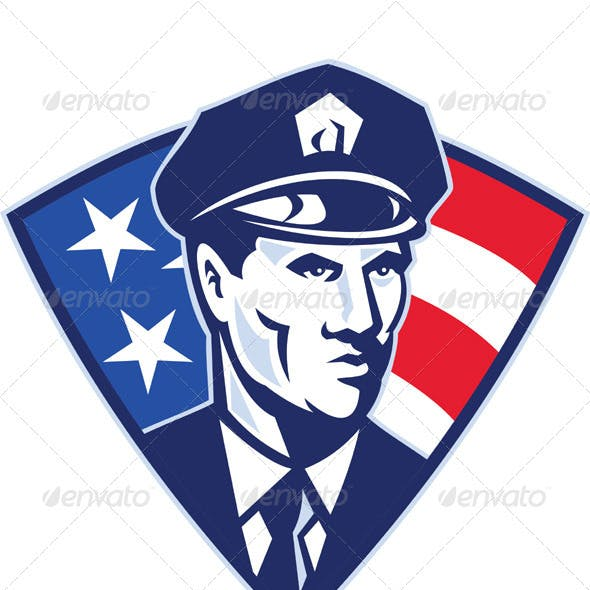 American Policeman Security Officer Shield