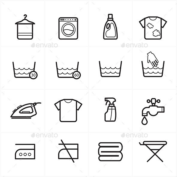Flat Line Icons For Laundry and Washing Icons - Miscellaneous Icons