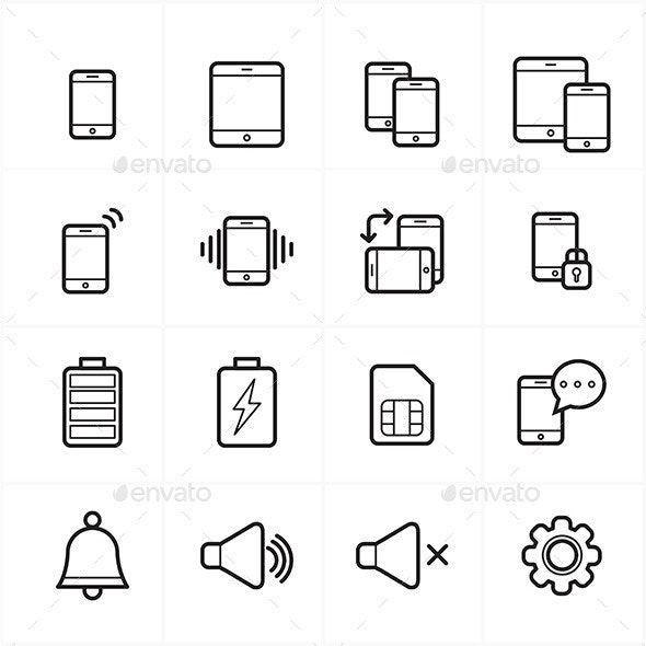 Flat Line Icons For Mobile Icons and Notification  - Technology Icons