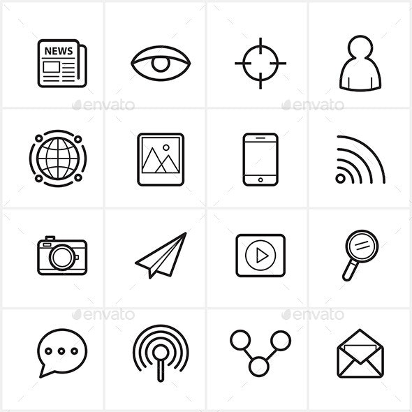 Flat Line Icons Communication and Web Icons Vector - Web Icons