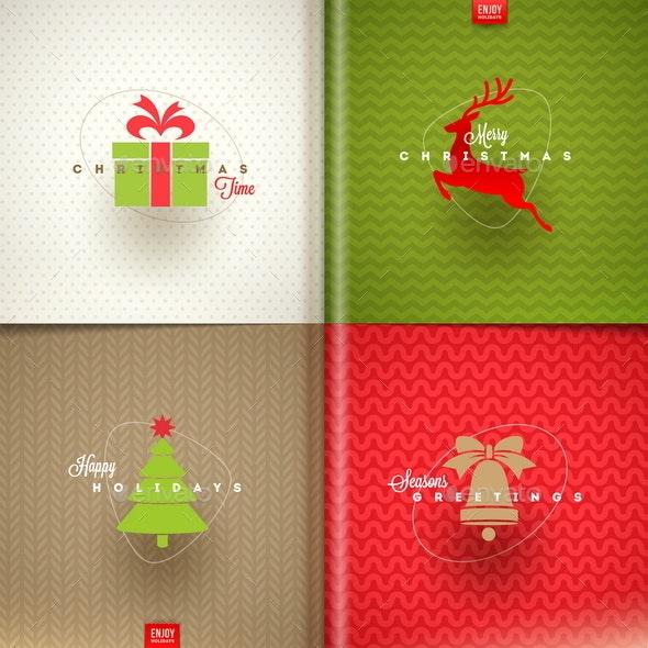 Set of Christmas Greeting Design - Christmas Seasons/Holidays
