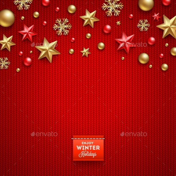Christmas Decorations and Greeting Label