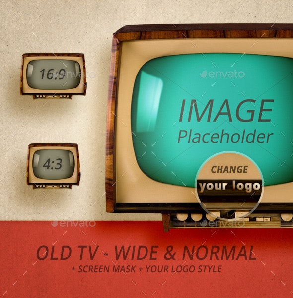 Old TV - Wide & Normal - Technology Isolated Objects