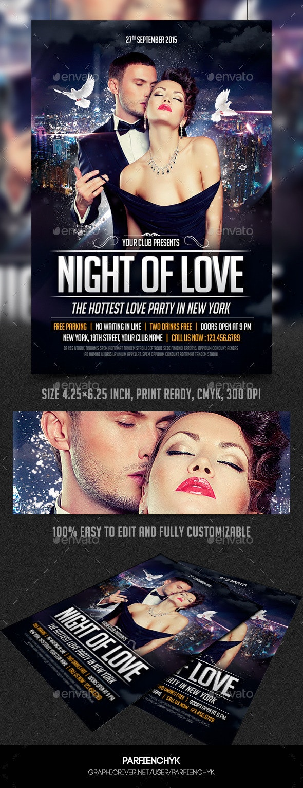Night of Love Party Flyer Template - Clubs & Parties Events