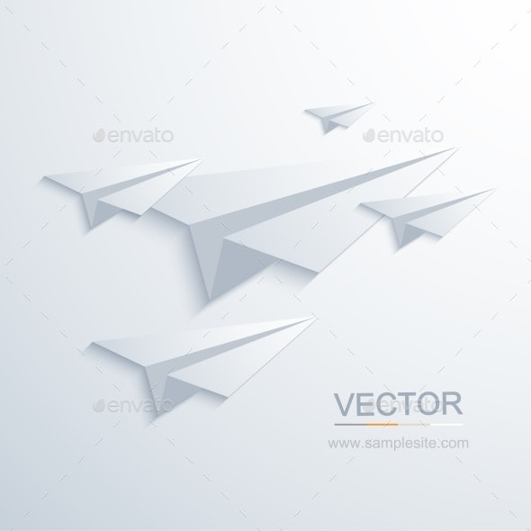 Vector Modern Origami Airplane Background - Travel Conceptual