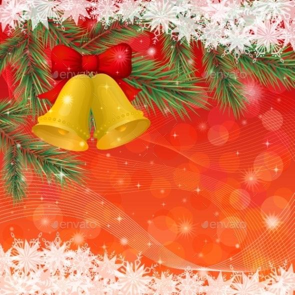 Christmas Background with Gold Bells and Snowflake - Christmas Seasons/Holidays