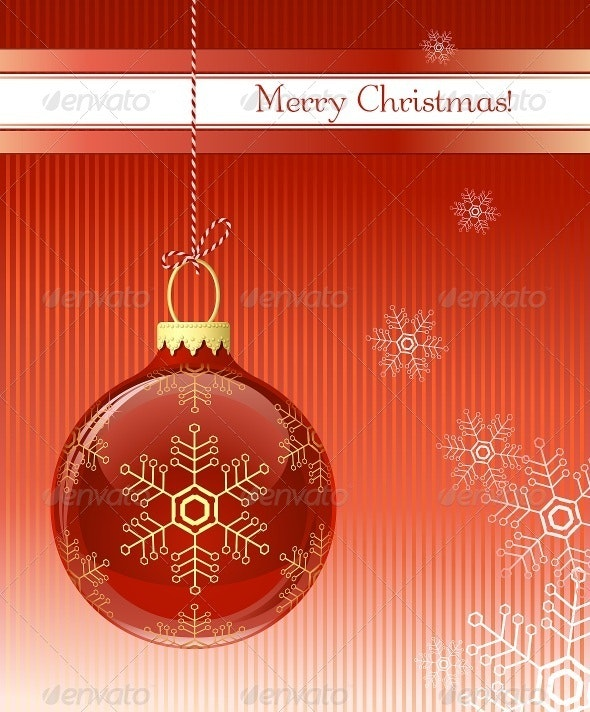 Christmas Card with Christmas Bauble - Christmas Seasons/Holidays