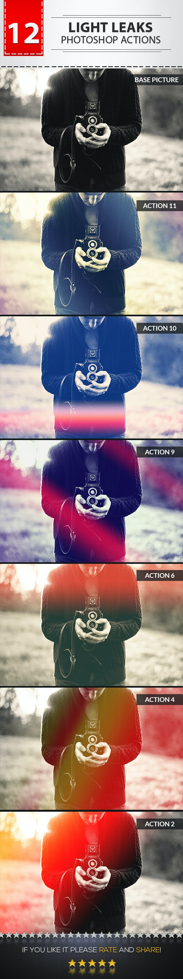 12 Light Leaks Photoshop Actions - Photo Effects Actions