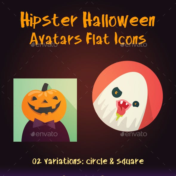 Hipster Halloween Avatar Flat Icons