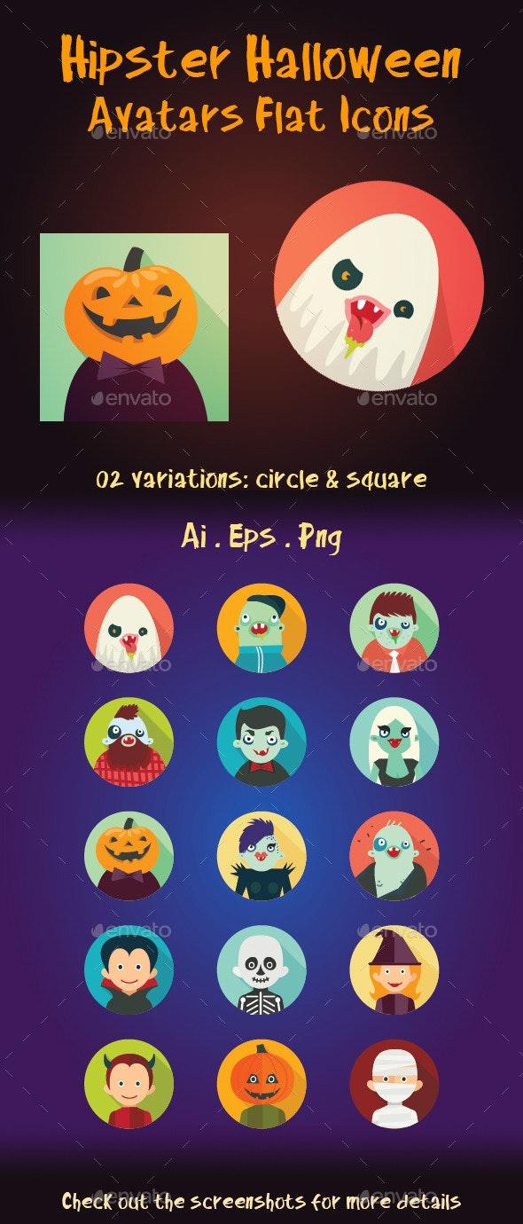 Hipster Halloween Avatar Flat Icons