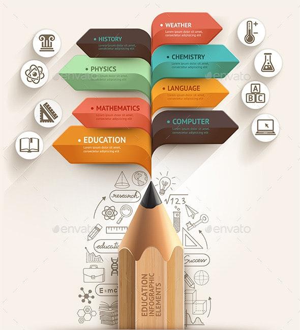 Education Pencil Arrow Infographics Template - Infographics