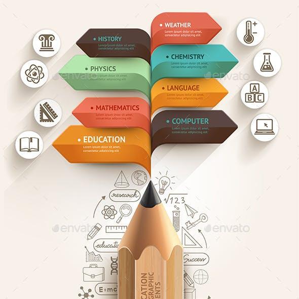 Education Pencil Arrow Infographics Template