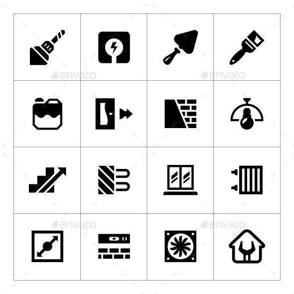 Set Icons of Repair and Building - Man-made objects Objects