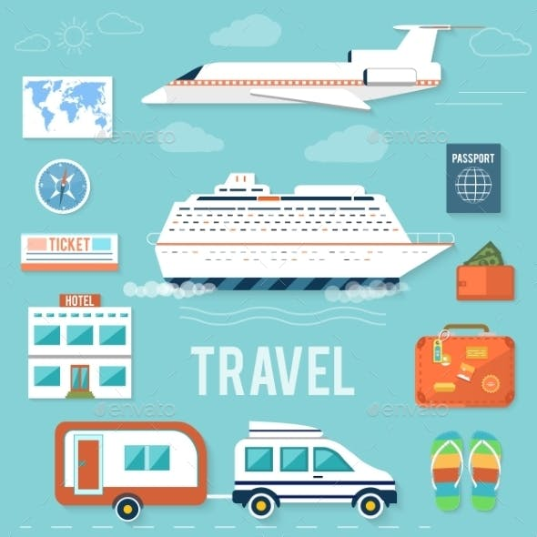 Set of Traveling and Planning a Summer Vacation