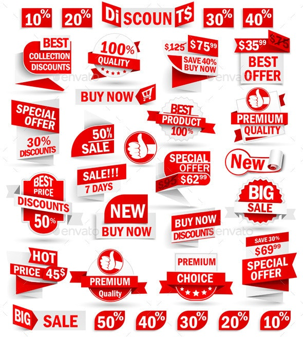 Set of Stickers and Banners - Commercial / Shopping Conceptual