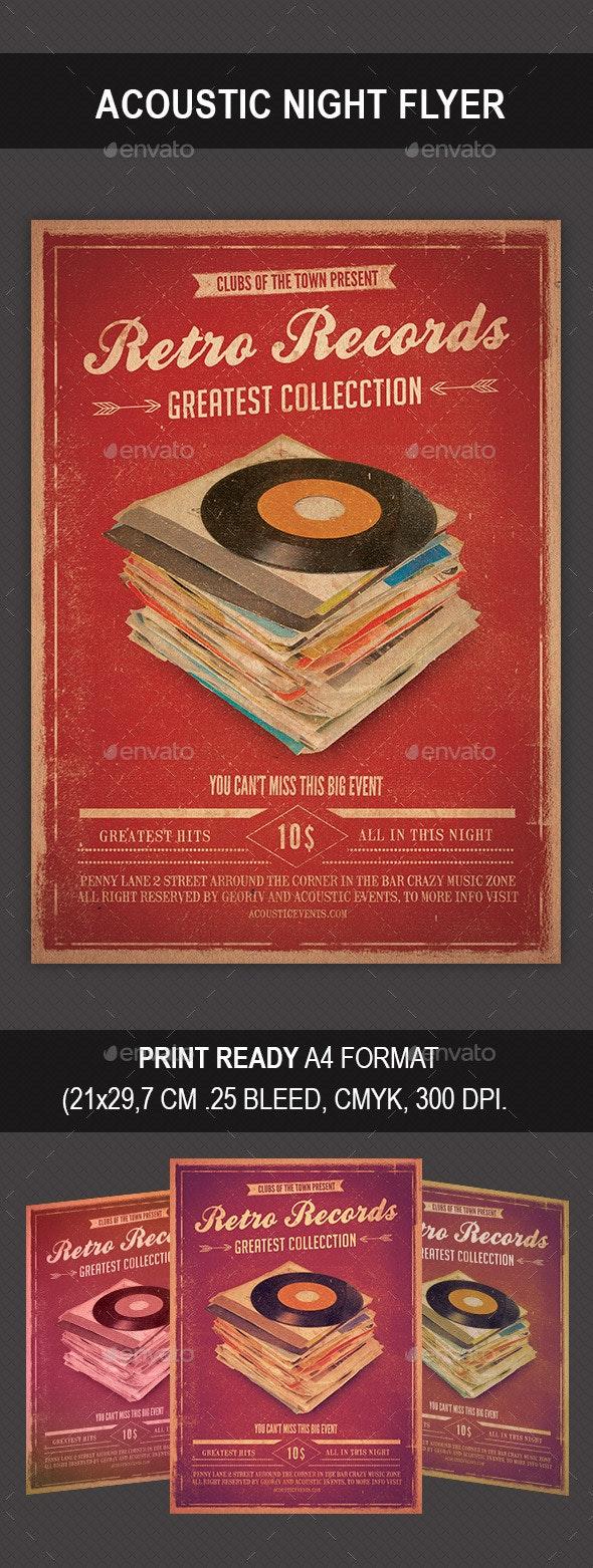 Retro Records Flyer - Events Flyers