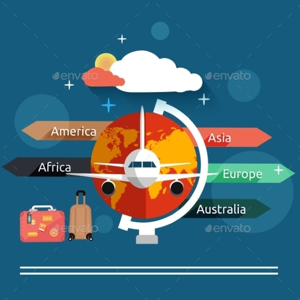 Airplane Flying Over the Map in Different Countrys - Travel Conceptual