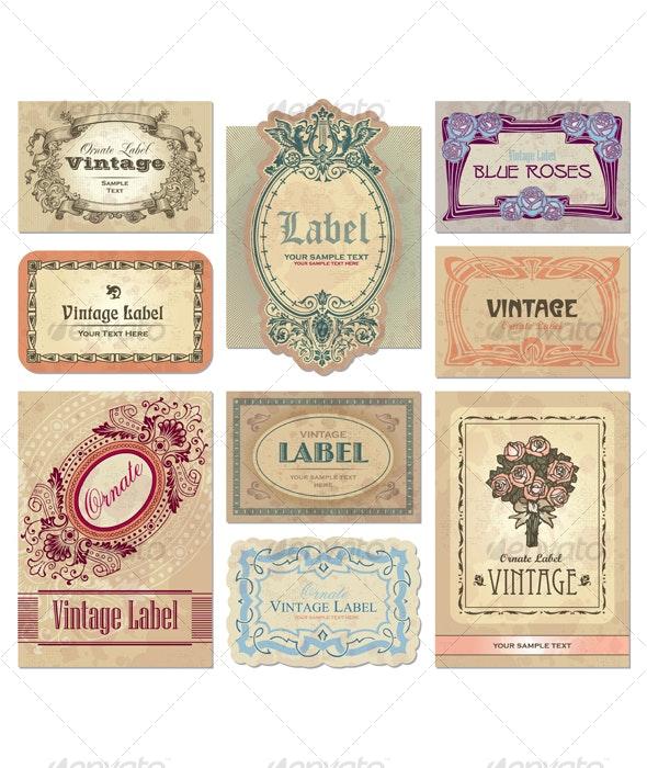 vintage labels set (vector) - Decorative Vectors