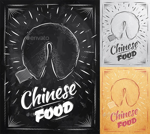 Poster Chinese Cookies in Retro Style - Food Objects