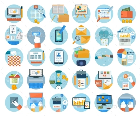 Business and Marketing Items Icons - Concepts Business