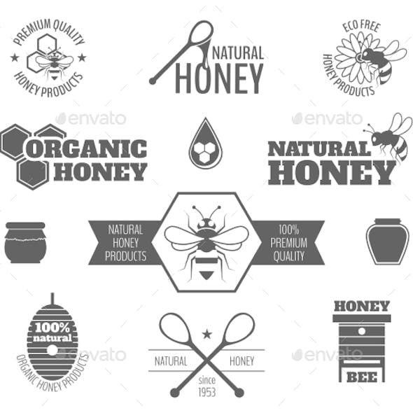 Bee Honey Label Black