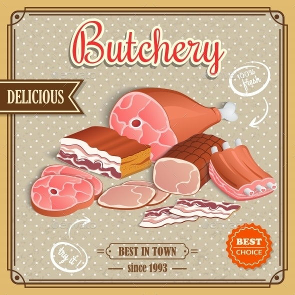 Retro Meat Poster - Food Objects