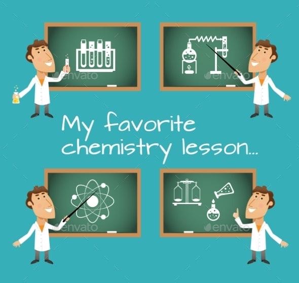 Chemistry Lesson Chalkboards - Miscellaneous Vectors