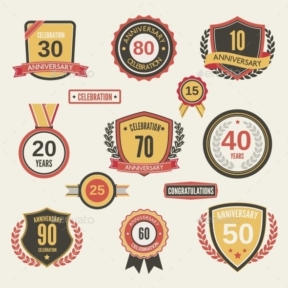 Anniversary Label Set - Miscellaneous Seasons/Holidays