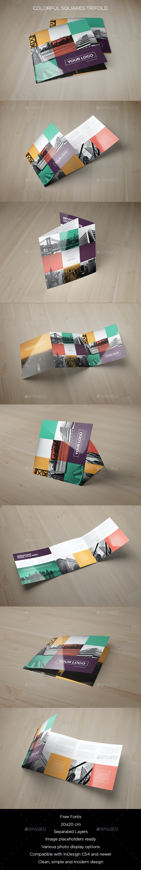 Colorful Squares Trifold - Brochures Print Templates
