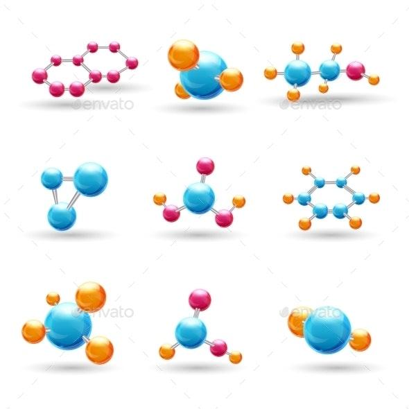 3D Chemical Molecules - Web Elements Vectors
