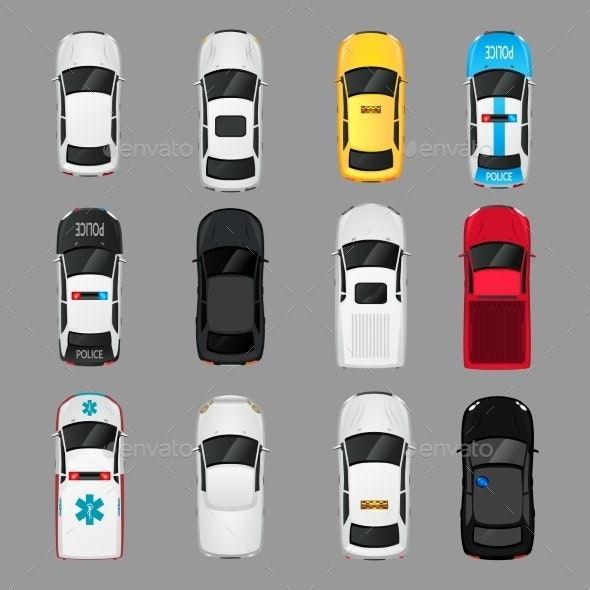 Cars Icons Top View - Web Technology